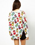 Brand  Pop can Flower Prints Loose Style Shirt