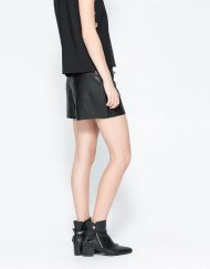 PU Leather Skirt Shorts with Zips Trousers Pants