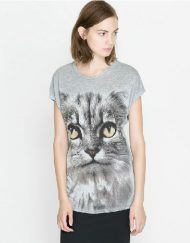 Woman Big Cat Prints Casual Short Sleeves T-shirt Tees -