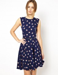 Lucky Leaf Prints Pleated Tank Dress