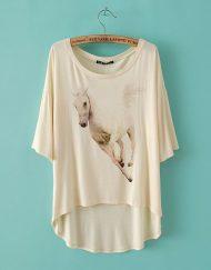 Running Horse Prints Casual Short Sleeves T-shirt Girls Tees -