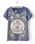 Vintage Flower Prints Casual T-shirts with Rivets Leisure Tees Tops-