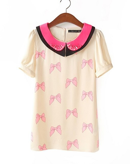 New Girls Bow Tie Prints Double Peter Pan Collar Casual Chiffon Blouse  MA95