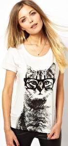 Girls Cartoon Glasses Cat prints Casual T-shirt Tees-