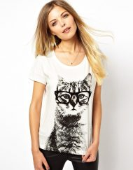 Girls Cartoon Glasses Cat prints Casual T-shirt Tees-