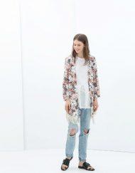 Girls Flower Prints Tassel Kimonos Loose Coats Outerwear
