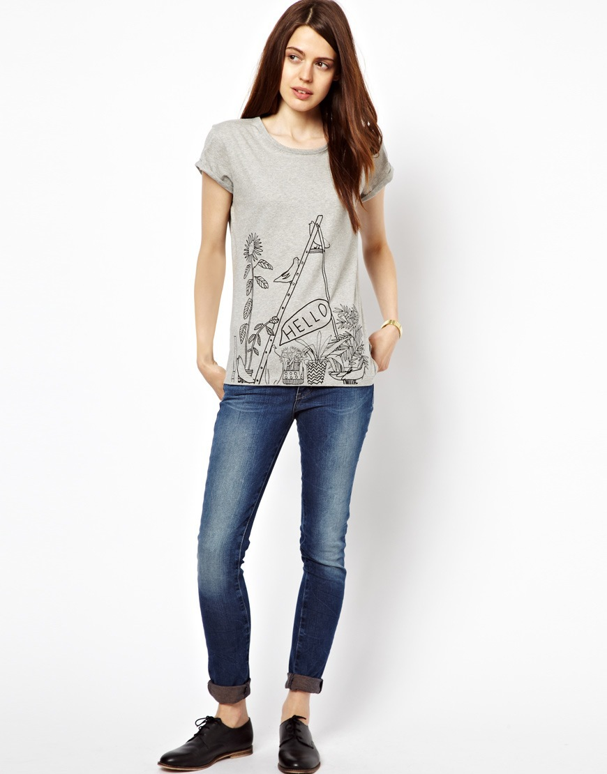 Girls Gray Birds and Flower prints Casual T-shirt Tees-