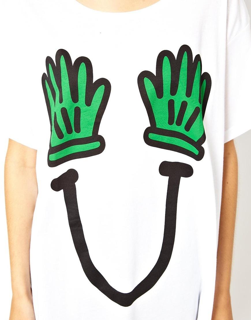 Girls Green Gloves prints Casual T-shirt Tees-
