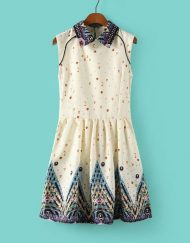 Girls Sweet Peter Pan Collar Floral Prints Tank Dress