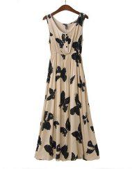 Bohemian Butterfly Printed Tank Long Beach DressA