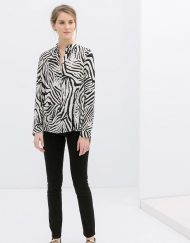 Zebra Patterns Casual Turn-down Collar Chiffon Blouse