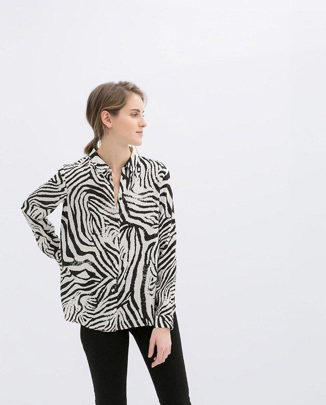 Zebra Patterns Casual Turn-down Collar Chiffon Blouse
