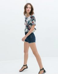 ASOS Inspired Printed Blouse with Frill Shirt