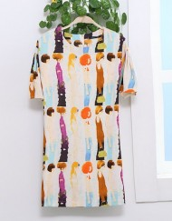 ASOS Inspired Vintage Character Prints Casual Straight Dress