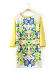 ASOS Inspired Vintage Colored Patchwork Flower Prints Straight Dress