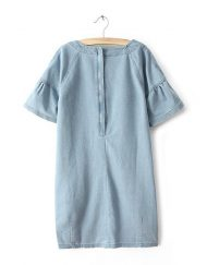Summer Casual Flare Sleeves Embroidered O-Neck Dress with Pockets&Zipper