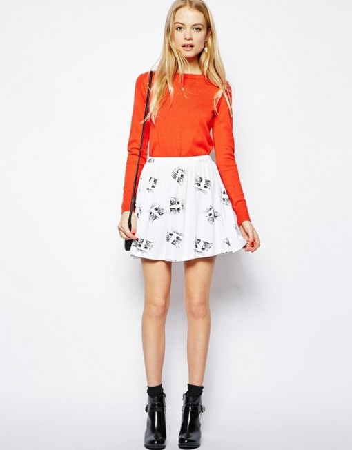 Colors Top Shop Inspired Kitty Prints Pleated Skirt S-O