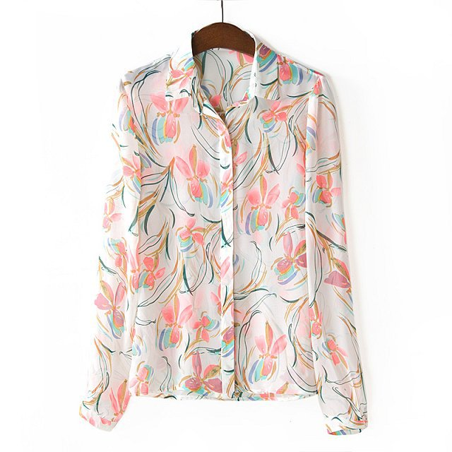 Colors flower printed casual chiffon blouse shirts avery couture mightylinksfo