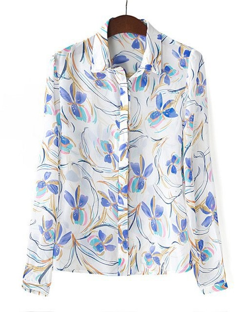 Colors Flower Printed Casual Chiffon Blouse Shirts