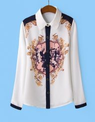 Baroque Flower Printed Casual Chiffon Blouse Shirts