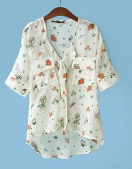 Bat Sleeves Printed Chiffon Blouse Casual Shirts