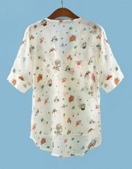 Bat Sleeves Printed Chiffon Blouse Casual Shirts