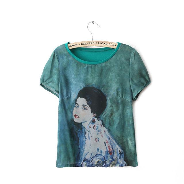 Beauty Pattern Short Sleeve O-Neck Tops T-shirt