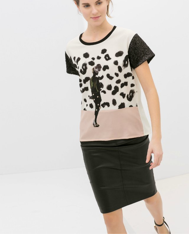 Beauty Prints Casual T-shirt with Shining Sequineds on Sleeves Tops -
