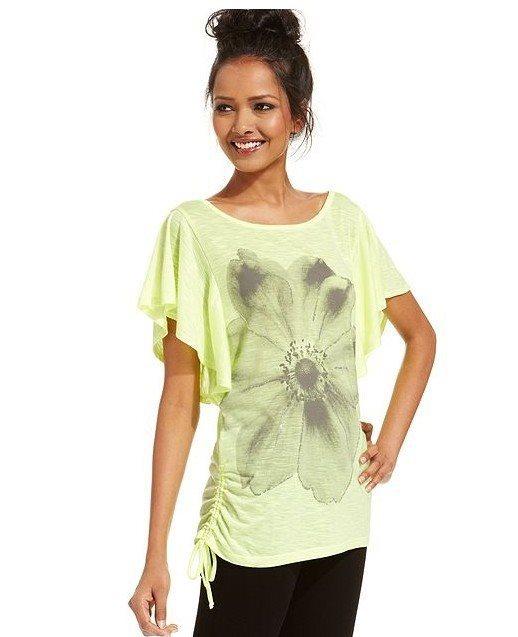 Big Flower Prints Casual T-shirts Tees -