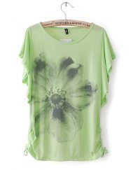 Big Flower Prints Casual T-shirts Tees -