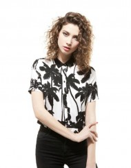 Black Coco Nut Trees Prints Knitted Blouse leisure Shirt
