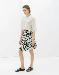 Black Prints Chiffon A-Line Skirt