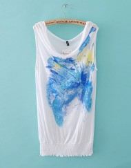Blue Flower Prints Casual Sleeveless T-shirts with Elastic sweep Tees -