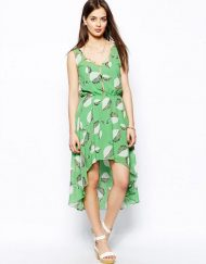Bohemian Style Printed Mermaid Sweep Chiffon Tank Dress