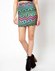 Bohenian Colored Waving Pencil Skirt S-O