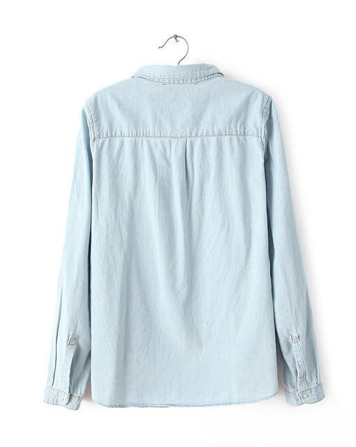 Casual Denim Blouse  Color Shirt