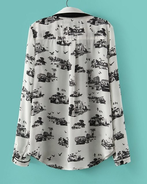 Casual Ink Printed Chiffon Blouse ASOS Inspired Shirt with Diamonds
