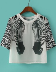 Casual Zebra Prints Chiffon Short Blouse Shirt