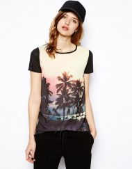 Coco Nut Tree Prints Short Sleeve Casual T-shirt Tops -