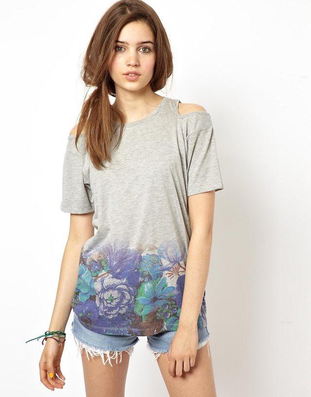 Color Flower Prints Off shoulder Casual T-shirts Tees -