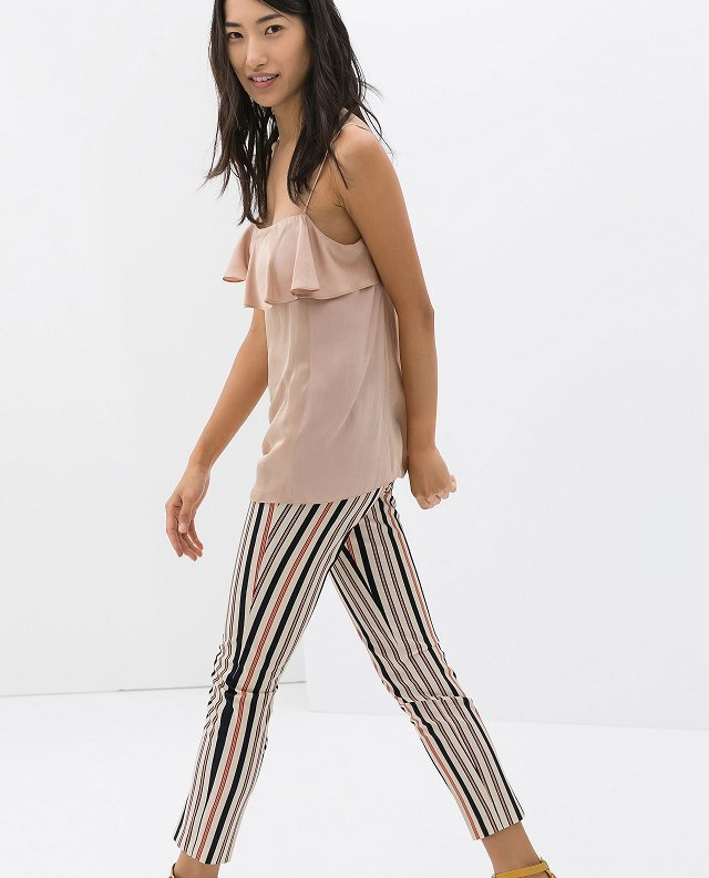 Color Striped Printed Pencil Trousers