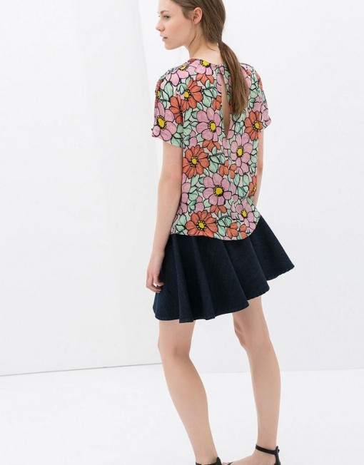 Colored Flower Printed Tops -