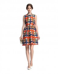 Colored Plaids Prints Waist-collected Tank Dress
