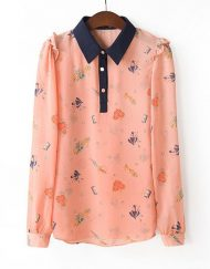 Colored Printed Casual Chiffon Blouse Shirts