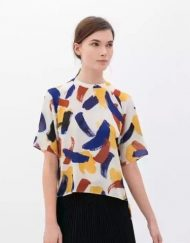 Colored Prints Chiffon Short Blouse Shirt
