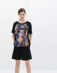 Combined Flower Printed Casual T-shirt Tops -