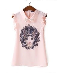 Crown Cat Prints Chiffon Blouse with Rhinestones Casual Shirts