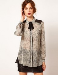 Dragon pattern Chiffon Shirt with Bowtie Brand Design Blouse-