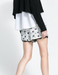 Black Flower Prints Lace Shorts Trousers Pants -