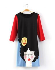 Cartoon Beauty Prints Casual Dress